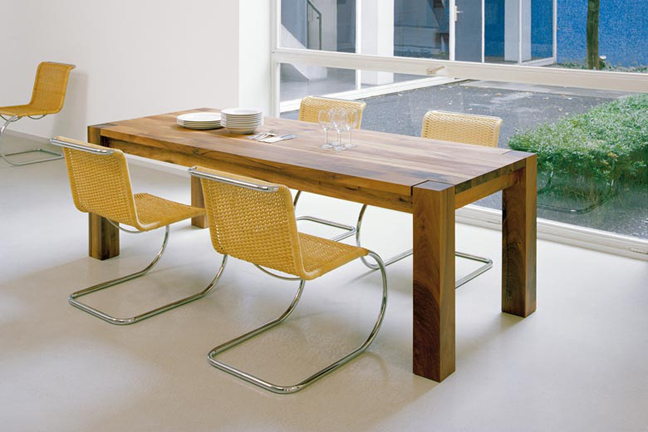 E 15 Big Foot table in solid European Oak. Dimensions: 180 cm - 360 cm x 92 cm  / 104,8 cm x 75 cm. (We offer the complete E15 collection. See our COLLECTIONS section for more info. Price - Upon request