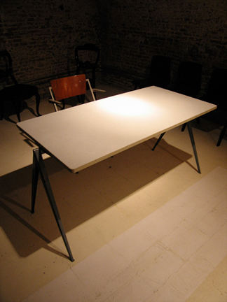 (1) Rietveld Pyramid Table (large) Rietveld table 140 cm x 70 cm with grey base and white formica top in very good condition. c. late 50