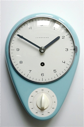Max Bill kitchen clock  c. 1960 Swiss made in ceramic with timer. (2 available) Price: Upon request