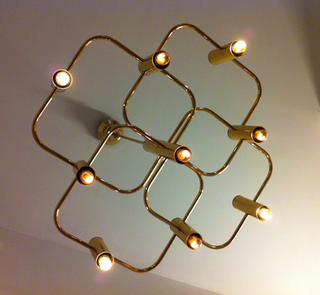 Boulanger chandelier Brass chandelier c. 1960  9 light fixtures in excellent vintage condition, 60 cm diameter. Price: SOLD