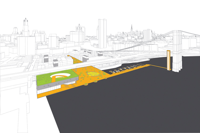 SOUTH STREET SEAPORT Re-Envisioning the Urban Edge Emerging New York Architects 2008 Competition Jury Selection .  Our vision for the South Street Seaport neighborhood employs four operational strategies to redefine its identity through nature, history, spectacle and economic opportunity. . A new urban promenade is composed from a series of program elements including public plazas, a new marina, and a dramatic sky-link that would connect to the Brooklyn Bridge pedestrian walkway. . The old Fulton Fish Market becomes the new home of the Seaman