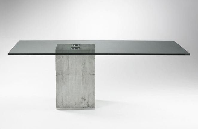 SERGIO AND GIORGIO SAPORITI dining table. Italy   c. 1970-80 cast concrete, glass, chrome-plated steel, stainless steel 110 x 210 cm SOLD very good vintage condition. Re-chromed support screws and new glass.