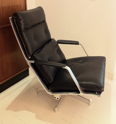 FK-85 lounge chair  c. 1963  Superb lounge chair by Fabricius and Kastholm.  Aluminum and leather.  Very good original condition. SOLD