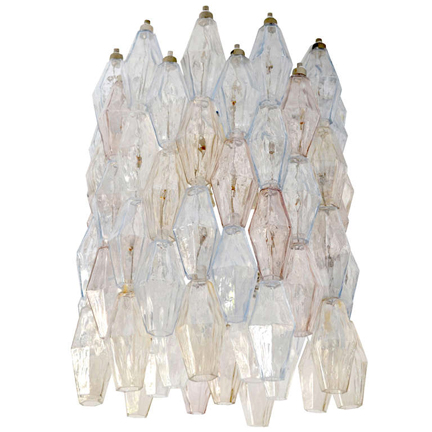 Carlo Scarpa Chandeliers   Made by Venini, Venice c. 1956. Clear and colored Murano glass in excellent condition. 55 cm high x 35 cm diameter. (pair) . p.o.a. Please contact us with questions, pricing or shipping details    info@schneidercolao.com