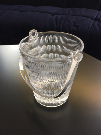 Sigrid Kupetz Ice Bucket   Made by WMF, metallwarenfabrik c. 1957. Ice bucket in glass and steel, excellent condition . p.o.a. Please contact us with questions, pricing or shipping details    info@schneidercolao.com